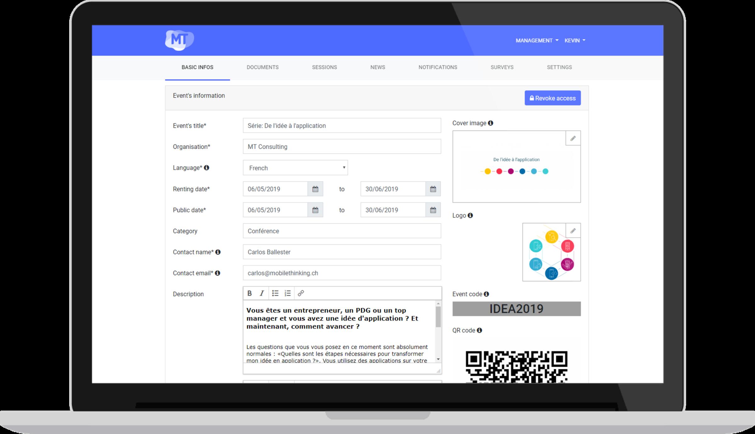 Détails événement - Un écosystème complet pour la gestion et diffusion de vos événements professionnels